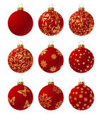 Balls. Red collection of shiny christmas balls. Vector illustration Stock Photo
