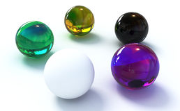 Balls. Glass balls of different colors on white background. 3d rernder high quality Royalty Free Stock Photo