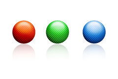 Balls. The picture shows a 3d illustration of three balls Stock Photo