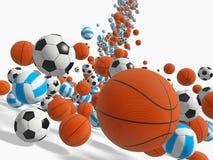 Balls. Falling balls.  3D rendered illustration Royalty Free Stock Image