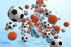 Balls. Falling balls.  3D rendered illustration Stock Photo