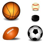 Balls. The five different sport balls Royalty Free Stock Photography
