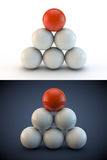 Balls 3d on white and blue background Stock Images