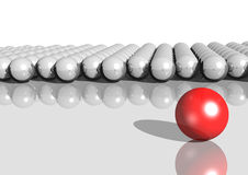 Balls. 3d rendering of white balls and a red ball royalty free illustration