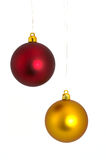 Balls. Two colored ornament sphere white background isolate Royalty Free Stock Photography