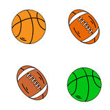Balls American football and handball, on a white background. Stock Photo
