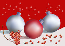Balls and ashberry. Christmas postcard with decoration balls, snowflakes and ashberry branch Royalty Free Stock Photography
