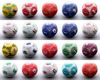 Balls with asian and oceanian flags of nations Royalty Free Stock Image