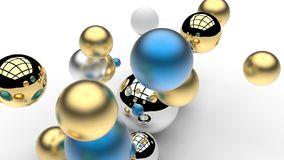 3d rendering. Abstract 3d shapes. Balls on a background. Abstract. 3D rendering. 3d image Royalty Free Stock Image