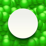 Balls background paper 01. Illustration of green balls on background and white circle paper Stock Images
