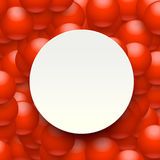 Balls background paper 03. Illustration of red balls on background with white paper in front stock illustration