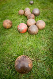 Balls. Ball on the stadium - shot put Stock Images