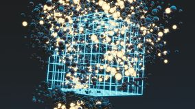 Balls with balls of light and big neon square cage on dark background. A lot of balls. Abstract composition with spheres. 3D rende. Balls with balls of light and royalty free illustration