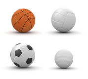 Balls: basketball, volleyball, football, golf Royalty Free Stock Photo