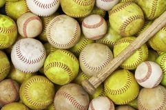 Balls and bat Royalty Free Stock Photography