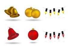 balls bells christmas design elements lights Στοκ εικόνες με δικαίωμα ελεύθερης χρήσης