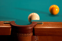 Balls on a billiard table. Balls on billiard table near to a pocket Royalty Free Stock Images