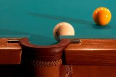 Balls on a billiard table. Balls on billiard table near to a pocket Stock Photo