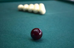 Balls on a billiard table Royalty Free Stock Photo