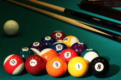 Balls billiards cue sports cloth numbers pocket table tournament race Royalty Free Stock Photography