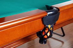 Balls in Billiards table pocket Royalty Free Stock Image