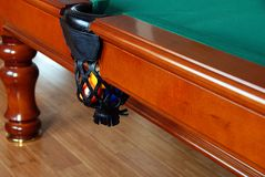 Balls in Billiards table pocket Royalty Free Stock Photography