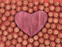 Balls with bingo numbers with a heart symbol. Balls with bingo numbers, heart symbol,board game lotto Royalty Free Stock Photo