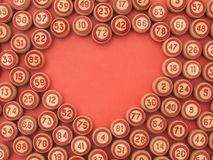 Balls with bingo numbers with a heart symbol. Balls with bingo numbers,heart symbol. Board game lotto Stock Photography