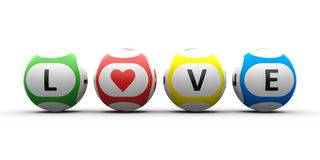 Balls with black lettering Love. 3d rendering of lottery balls on a white table represents symbol of love Valentine`s Day Stock Photos