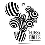 Balls Black Lines Vector. Three Dimensional. 3d Balls. Abstract Illustration stock illustration