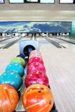 Balls for bowling in bowling-alley Stock Image