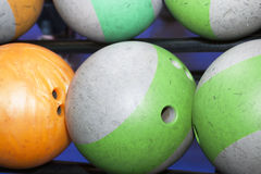 Balls for bowling games. Balls for bowling game selective focus Royalty Free Stock Photos