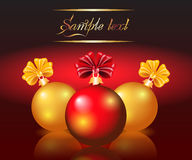 Balls with bows. Christmas card with red and yellow balls Stock Images