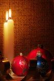 balls candles gold ribbons Στοκ φωτογραφίες με δικαίωμα ελεύθερης χρήσης