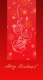 Balls card. A Christmas card with balls and snowflakes Royalty Free Stock Images