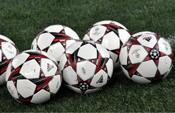 The balls of champions league in the field photo was taken during match between shakhtar donetsk ukraine vs manchester united Royalty Free Stock Photography