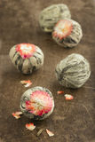 Balls of Chinese green tea royalty free stock photo