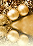 Balls Christmas background. Gold Christmas background with balls and tinsel Stock Photos
