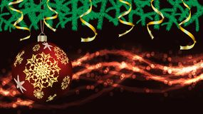Balls, Christmas decorations for the New Year, fir branches gold ribbons and lights, a garland isolated on black vector background. Balls, Christmas decorations vector illustration