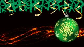 Balls, Christmas decorations for the New Year, fir branches gold ribbons and lights, a garland isolated on black vector background. Balls, Christmas decorations royalty free illustration