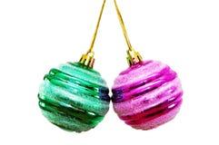 balls christmas isolated two white Στοκ εικόνα με δικαίωμα ελεύθερης χρήσης