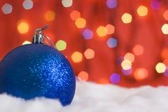 balls christmas lights snow Στοκ Φωτογραφία