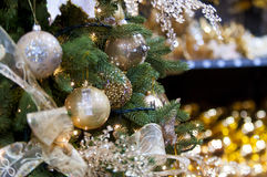 Balls on christmas tree. Few balls on christmas  tree Royalty Free Stock Photos