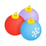 Balls for the Christmas tree icon. In isometric 3d style on a white background Royalty Free Stock Photos