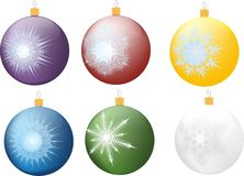 Balls on the Christmas tree. Six different Christmas balls with snowflakes Stock Images