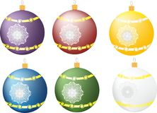 Balls on the Christmas tree. Six different Christmas balls with snowflakes Royalty Free Stock Photo