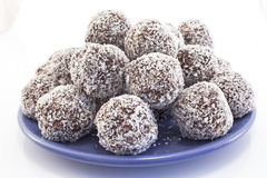 Balls of coconut and chocolate Royalty Free Stock Images
