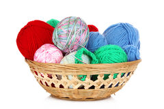Balls of color knitting wool Royalty Free Stock Photos
