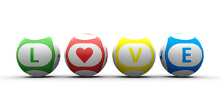 Balls with color lettering Love. 3d rendering of lottery balls on a white table represents symbol of love (Valentine's Day Stock Image