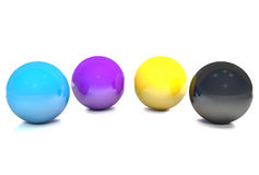 Balls, colored cmyk. Royalty Free Stock Photography